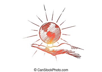 Hand drawn globe on palm vector concept