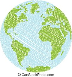 Hand drawn Globe. Sketch illustration of planet earth....