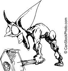 Hand drawn goblin blacksmith