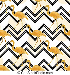 Hand drawn gold flamingo with chevron background