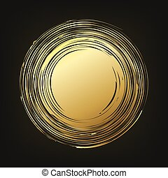 Hand drawn gold round shape. Vector illustration.