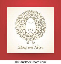 Hand Drawn Gold Sheep and Fleece Vector Illustration - Hand...