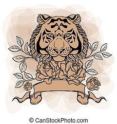 Hand drawn gold tiger head with rose flower. Decorative tattoo or t-shirt design. Vector illustration in line art style
