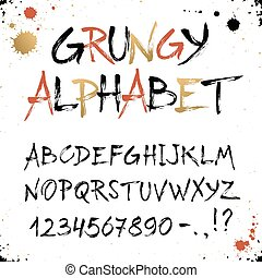 Hand drawn golden alphabet. Uppercase grunge letters and...