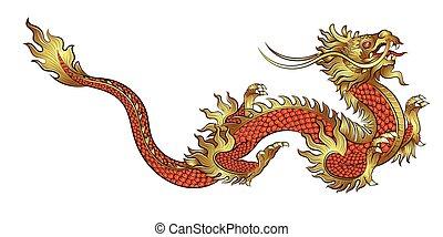 Hand drawn golden Chinese dragon
