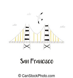 Hand drawn Golden Gate Bridge in San Francisco
