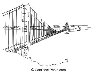 Hand drawn Golden Gate, San Francisco. Vector Outline Scribble