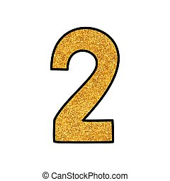 Hand drawn golden vector number 2 isolated on white background