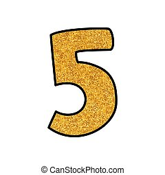 Hand drawn golden vector number 5 isolated on white background