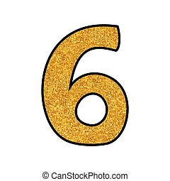 Hand drawn golden vector number 6 isolated on white background
