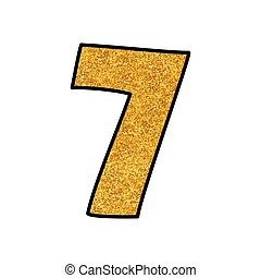 Hand drawn golden vector number 7 isolated on white background