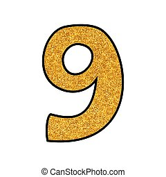 Hand drawn golden vector number 9 isolated on white background