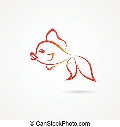 Hand drawn goldfish isolated on white background