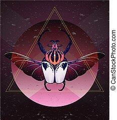 hand-drawn, goliath, alas, cráneo, escarabajo