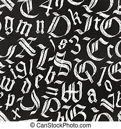 Hand drawn gothic letters drawing with white chalk on black chalkboard, calligraphy seamless pattern