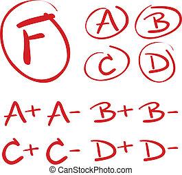 Hand Drawn Grades - Hand drawn vector grades with circles,...