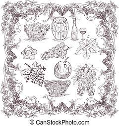 hand drawn grape set