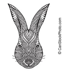 Hand drawn graphic ornate head of rabbit with ethnic floral doodle pattern. Vector illustration for coloring book, tattoo, print on t-shirt, bag. Isolated on a white background.