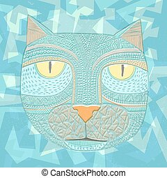 Hand drawn graphic vector of a cat.
