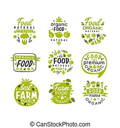 Hand drawn gray and green organic healthy food logo set. Fresh farm products. Creative labels with vegetables and fruits. Vector collection