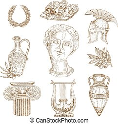 Hand Drawn Greece Icon Set
