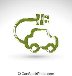 Hand drawn green eco car icon