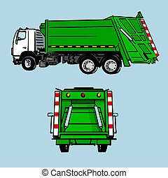 Hand drawn green garbage truck, side and back view. Vector sketch isolated on blue.