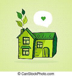Hand drawn green house