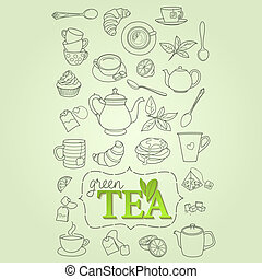 Hand drawn green tea doodle concept vector