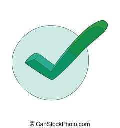 Hand drawn green tick icon, cartoon style