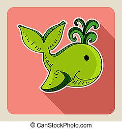 Hand drawn green whale