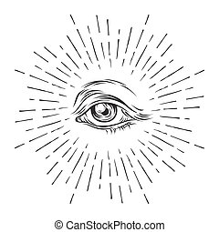 hand-drawn, grunge, 勾画, 眼睛, 在中, providence., masonic, 符号。,...