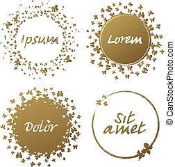 Hand drawn grunge circle frame vector illustration. Set of ink template for glamorous logos.