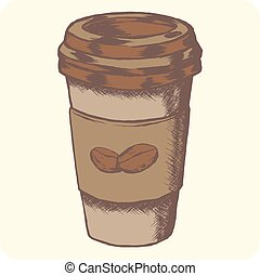 Hand drawn grunge colored vector sketch illustration - creative vintage tee shirt apparel print poster design, Take away coffee paper cup and beans.