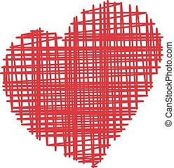 Hand Drawn Grunge Heart Isolated On A White Background. Vector Sketch Style Illustration.