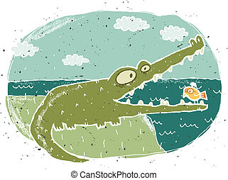 Hand drawn grunge illustration of cute crocodile on...