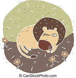 Hand drawn grunge illustration of cute lion on floral...