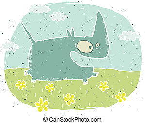Hand drawn grunge illustration of cute rhino on background...