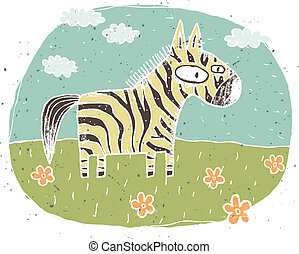 Hand drawn grunge illustration of cute zebra on background with flowers and clouds. Illustration is in eps8 vector mode!