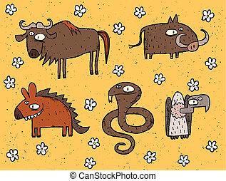 Hand drawn grunge illustrations set of gnu, warthog, hyena, cobra and vulture. Illustration is in eps8 vector mode!