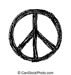 Hand drawn grunge Peace sign