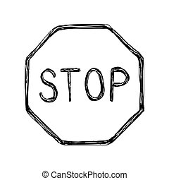 Hand drawn grunge stop sign icon No sign