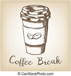 Hand drawn grunge vector sketch illustration - creative vintage tee shirt apparel print poster design, Take away coffee paper cup and beans.