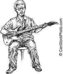 hand drawn guitar player