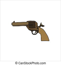 Hand drawn gun Isolated on a white background. Vector illustration