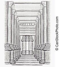 Hand drawn hall sketch