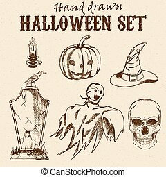 Hand Drawn Halloween characters set