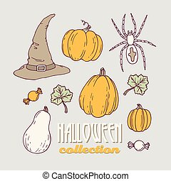 Hand drawn halloween clip art collection
