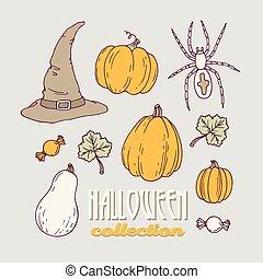 Hand drawn halloween clip art collection