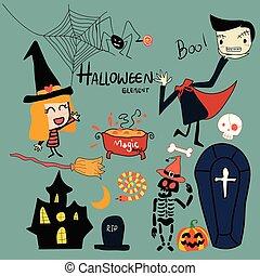 hand drawn Halloween elements cute vector